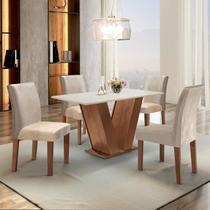 Conjunto Sala de Jantar Mesa Tampo MDF 4 Cadeiras Espanha Siena Móveis Chocolate/Suede Bege -