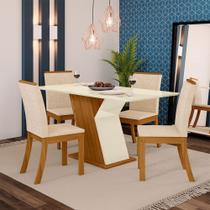 Conjunto Sala de Jantar Mesa Tampo MDF 4 Cadeiras Kesha Casa 812 -