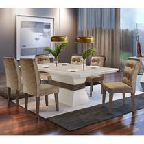 Conjunto Sala de Jantar Mesa Tampo MDF 6 Cadeiras Clarice Espresso Móveis Animalle Chocolate/Off White/Café -