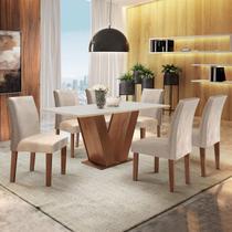 Conjunto Sala de Jantar Mesa Tampo MDF 6 Cadeiras Espanha Siena Móveis Chocolate / Off White -