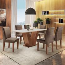 Conjunto Sala de Jantar Mesa Tampo MDF 6 Cadeiras Espanha Yescasa Chocolate/Off White -