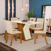 Conjunto Sala de Jantar Mesa Tampo MDF 6 Cadeiras Kesha Casa 812 -
