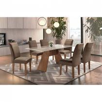 Conjunto Sala de Jantar Mesa Tampo MDF e 6 Cadeiras Atlanta Chanfro Premium Siena chocolate / off white - suede CEL Móveis - Sem vidro -