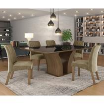 Conjunto Sala de Jantar Mesa Tampo MDF/Vidro 6 Cadeiras Leblon Tik Plus Espresso Móveis Castanho/Tampo Preto -