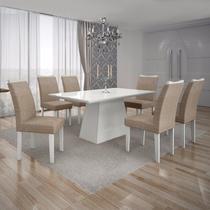 Conjunto Sala de Jantar Mesa Tampo MDF/Vidro Branco 6 Cadeiras Pampulha Leifer Branco/Linho Bege -