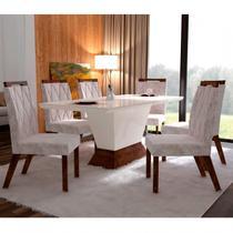 Conjunto Sala de Jantar Mesa Tampo MDF/Vidro e 6 Cadeiras Esmeralda Leifer Ypê -