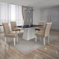 Conjunto Sala de Jantar Mesa Tampo MDF/Vidro Preto 4 Cadeiras Pampulha Leifer Branco/Linho Bege -