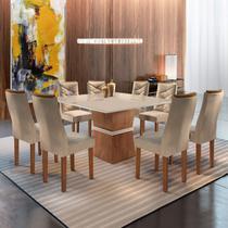Conjunto Sala de Jantar Mesa Tampo Slim Vidro Plus 8 Cadeiras Germany Yescasa Chocolate/Off White -
