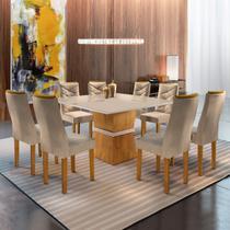 Conjunto Sala de Jantar Mesa Tampo Slim Vidro Plus 8 Cadeiras Germany Yescasa Ypê/Off White/Suede Pena -