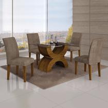Conjunto Sala de Jantar Mesa Tampo Vidro 120cm 4 Cadeiras Olímpia New Leifer Canela/Animale Capuccino -