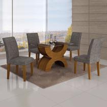 Conjunto Sala de Jantar Mesa Tampo Vidro 120cm 4 Cadeiras Olímpia New Leifer Imbuia Mel/Linho Cinza -