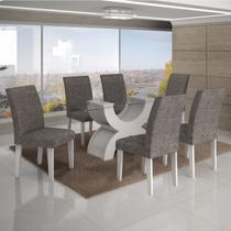 Conjunto Sala de Jantar Mesa Tampo Vidro 160cm 6 Cadeiras Olímpia New Leifer Branco/Linho Cinza -