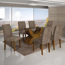 Conjunto Sala de Jantar Mesa Tampo Vidro 160cm 6 Cadeiras Olímpia New Leifer Canela/Animale Capuccino -