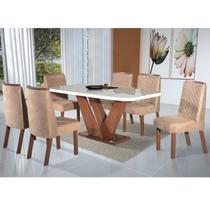 Conjunto Sala de Jantar Mesa Tampo Vidro e MDF 6 Cadeiras Yescasa Amendoa -