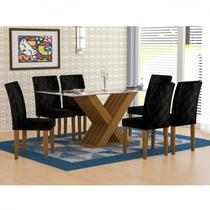 Conjunto Sala de Jantar Mesa Tampo Vidro Verona 6 Cadeiras Grécia Rufato Imbuia/ Penna Preto -