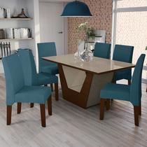 Conjunto Sala de Jantar Mesa Verbena e 6 Cadeiras Walnut/Bronze/Azul - Kappesberg -