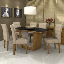 Conjunto Sala de Jantar Mesa Vidro Preto Apogeu 6 Cadeiras Fiorella Móveis Lopas Rovere/Veludo Naturale Creme -