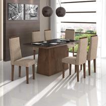 Conjunto Sala de Jantar Mesa Vidro Preto Nevada 6 Cadeiras Dafne Móveis Lopas Imbuia Soft/Velvet Bege -
