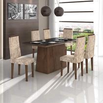 Conjunto Sala de Jantar Mesa Vidro Preto Nevada 6 Cadeiras Dafne Móveis Lopas Imbuia Soft/Velvet Linho Floral -