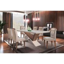 Conjunto Sala de Jantar Mesa Yasmin 180cm 6 Cadeiras Carol Rufato -