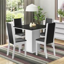 Conjunto Sala de Jantar Moscou Plus Madesa Mesa Tampo de Vidro com 4 Cadeiras -