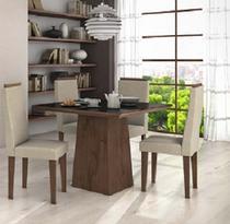 Conjunto Sala de Jantar Nevada 100 4 Cadeiras Dafine Imbuia Soft Lopas -