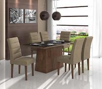 Conjunto Sala de Jantar Nevada 180 6 Cadeiras Fiorella Imbuia Soft Lopas -