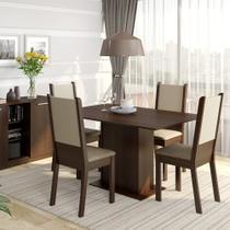 Conjunto Sala de Jantar Rita Madesa Mesa Tampo de Madeira com 4 Cadeiras -