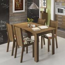 Conjunto Sala de Jantar Rosie Madesa Mesa Tampo de Madeira com 4 Cadeiras -