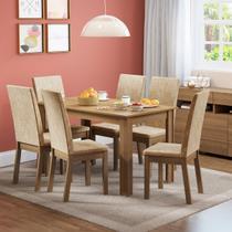 Conjunto Sala de Jantar Sara Madesa Mesa Tampo de Madeira com 6 Cadeiras - Madesa Móveis -