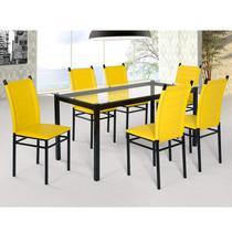 Conjunto Sala de Jantar Tokio Mesa 6 Cadeiras Art Panta Preto/Amarelo -