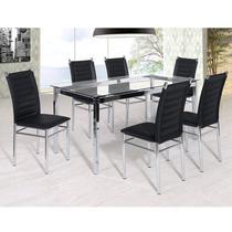 Conjunto Sala de Jantar Tókio Mesa 6 Cadeiras Yescasa Cromado/Preto -