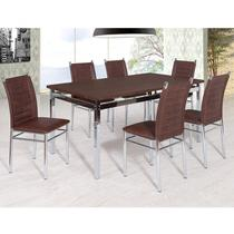 Conjunto Sala de Jantar Tokio Mesa Riviera 6 Cadeiras Art Panta Cromado/Castanho Rust -