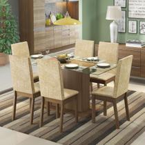 Conjunto Sala de Jantar Valentina Madesa Mesa Tampo de Vidro com 6 Cadeiras -