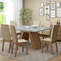 Conjunto Sala de Jantar Vênus Madesa Mesa Tampo de Vidro com 6 Cadeiras -