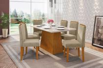Conjunto Sala Jantar 1,60 Barbara Mesa Ype Vidro Off White 6 Cadeiras Amanda Fendi - New Ceval -