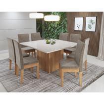 Conjunto Sala Jantar Mesa com Vidro Atena 8 Cadeiras Diamante Sonetto -