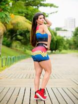 Conjunto   short  e  top  azul  e vermelho   mulher  maravilha  -  tamanho  ( g ) - Miss  Fitness