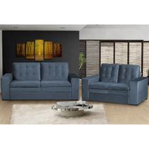 Conjunto Sofá 3 e 2 Lugares Cama inBox Florença 2,05x1,55m Tecido Suede Velusoft Azul - Não Informada