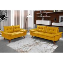 Conjunto Sofá Bariloche 2 e 3 Lugares Essencial Estofados Amarelo Cestaplus -