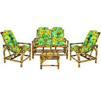 conjunto sofá de área bambu 4 lugares - 1 sofá + 2 cadeiras + 1 mesa e 4 almofadas  VL DECOR -