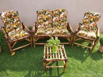 conjunto sofá de área bambu 4 lugares de fabricação - 1 sofá + 2 cadeiras + 1 mesa 4 almofadas - Supremadecor