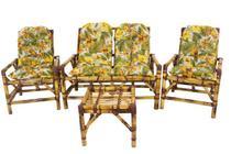 conjunto sofá de área bambu 4 lugares de fabricação - 1 sofá + 2 cadeiras + 1 mesa 4 almofadas - Vl Decor