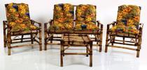 conjunto sofá de área bambu 4 lugares de fabricação 100% artesanal - 1 sofá + 2 cadeiras + 1 mesa - Supremadecor