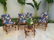 conjunto sofá de área bambu 4 lugares de fabricação 100% artesanal - 1 sofá + 2 cadeiras + 1 mesa - Vl Decor