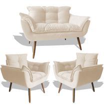 Conjunto Sofá Namoradeira Opala Para Sala Estar Recepção + 2 Poltrona Cadeira Opala Decorativa RL Decor - Suede Bege -