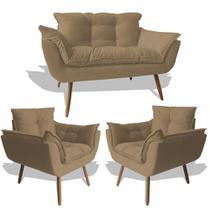 Conjunto Sofá Namoradeira Opala Para Sala Estar Recepção + 2 Poltrona Cadeira Opala Decorativa RL Decor - Suede Cappucci -