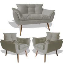 Conjunto Sofá Namoradeira Opala Para Sala Estar Recepção + 2 Poltrona Cadeira Opala Decorativa RL Decor - Suede Cinza Cl -