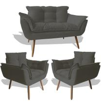 Conjunto Sofá Namoradeira Opala Para Sala Estar Recepção + 2 Poltrona Cadeira Opala Decorativa RL Decor - Suede Cinza Es -