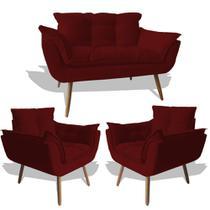 Conjunto Sofá Namoradeira Opala Para Sala Estar Recepção + 2 Poltrona Cadeira Opala Decorativa RL Decor - Suede Marsala -